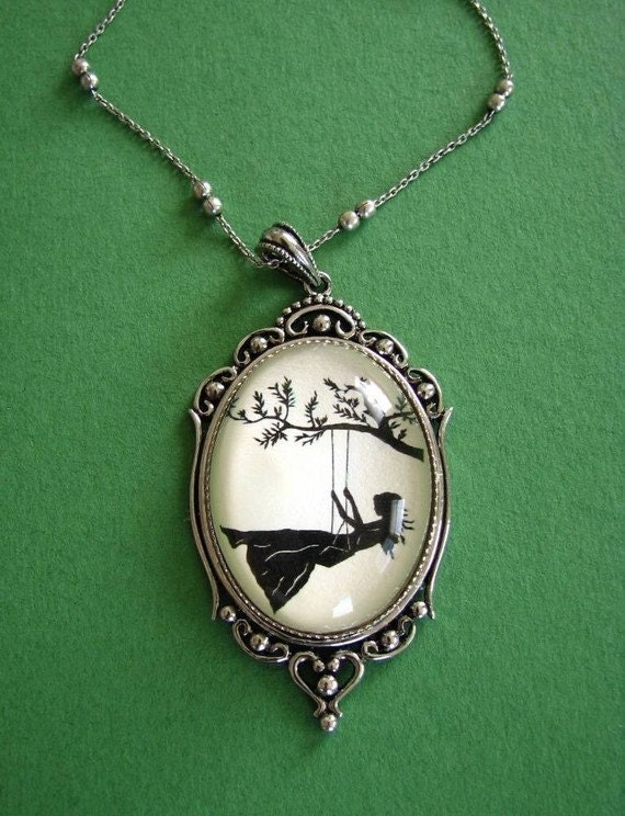 Sale 20% Off // GIRL on a SWING Necklace - pendant on chain - Silhouette Jewelry // Coupon Code SALE20
