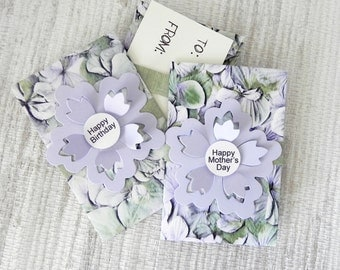 Hydrangeas Gift Card Holder - Happy Birthday or Happy Mother's Day