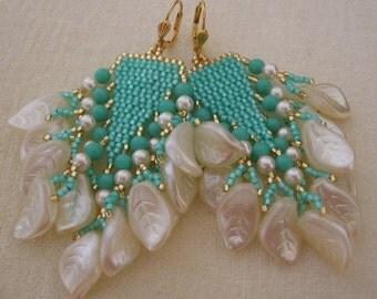 Seed Bead Beadwoven Earrings - Aqua/Cream