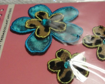 Blue Flower Animal Print Iron On Flower Applique