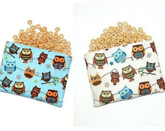 Hooty Hoot Owls (Blue and Cream) - Set of 2 Eco Friendly Reusable Snack Bags