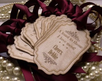 Favor Tags Ideal for Miniature Wine or Champagne Bottles - Burgundy Wedding Favor or Party Labels - Personalized - Set of 10