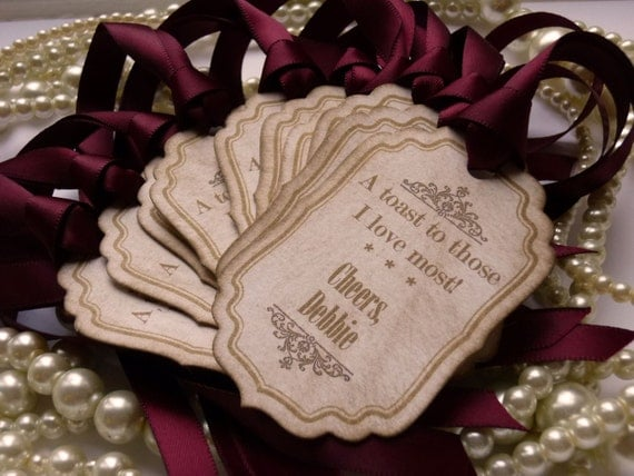 Favor Tags Ideal For Miniature Wine Or Champagne Bottles