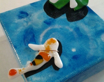 Mini Koi Pond Painted canvas and Fused Glass, Koi Pond Hybrid Art, Koi Pond Art