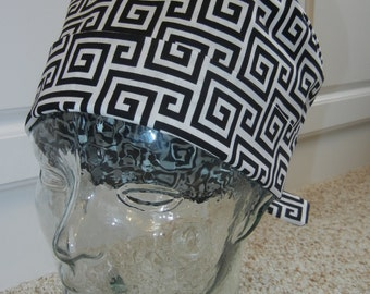 Tie Back Surgical Scrub Hat with Black White Greek Keys