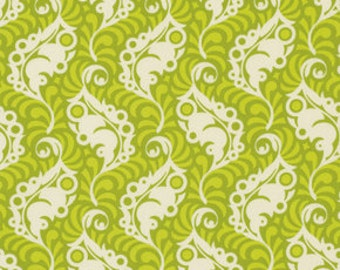 SALE Fabric, Heather Bailey, Cotton Fabric Lottie Da Collection- Feather Leaf in Green- Fabric by the Yard. Free Shipping Available