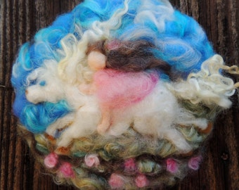 Can created for you - Needle Felted Tapestry of a pony and child wool Painting - Waldorf Inspired