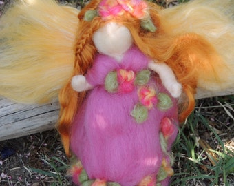 Wool Angel - Garden Fairy -  Needle felted wool soft sculpture - Waldorf Inspired by Rebecca Varon