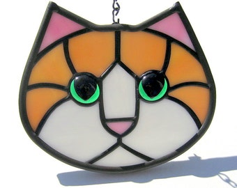 Stained Glass Cat Face Ginger Orange Amber and White with Green Eyes Suncatcher