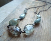 Moss Aquamarine Necklace Gemstone Necklace Oxidized Sterling Silver March Birthstone Aqua Blue Gifts Under 100 Summer Fashion