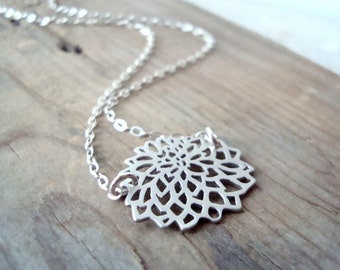 SALE Small Silver Chrysanthemum Necklace Metalwork Simple Modern Flower Jewelry Asian Style Zen Gifts Under 30 Sterling Floral Pendant