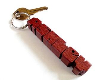 Purpleheart Wood Name Keychain, Custom Carved to Order
