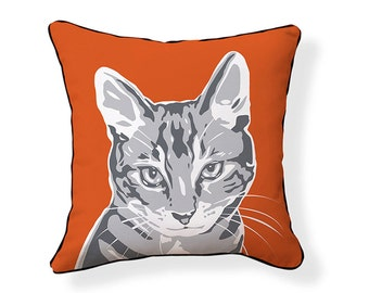 Little Grey Cat Pillow
