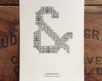 Ornamental Ampersand letterpress PRINT