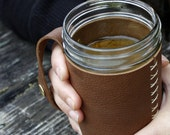 Leather Mason Jar Sleeve