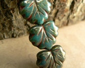 Persian Green Czech Glass Maple Leaf Beads Opaque Red Picasso 10x13mm (10)