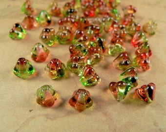Red Green Czech Glass Baby Bell Flower Beads Peach Pear 4x6mm (25)