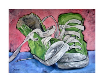 Total BUBBLEGUM! Fabulous Fun and cheeky original art  Lime Green Converse SNEAKER Art Archival PRINT other sizes available