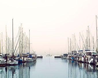 Marina, Sailboat Photography, Boat Photo, Nautical Decor, San Francisco Print, Sunrise, Pastel Pink and Blue, Sausalito California Wall Art