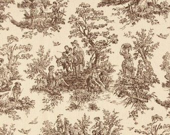 Brown Toile Window Valance in Chocolate Brown and Natural Jamestown Toile You Pick Design/Shape