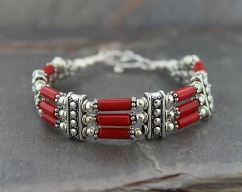 Coral and Silver Bands Bracelet