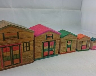 Vintage Wooden Nesting Inlaid Wood Miniature Doll House Box Set of 5