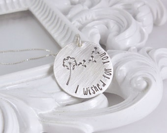 I wished for you - Personalized Necklace - Hand Stamped Necklace - Personalized Mother's Necklace - Sterling Silver - custom jewelry