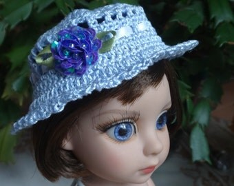 Crochet Hat for 10 inch Tonner Ann Estelle Patsy  Doll Head size 7 1/2 inches Soft Blue Purple