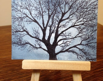 ACEO tree - Winter Tree 2 - Original Watercolor small art