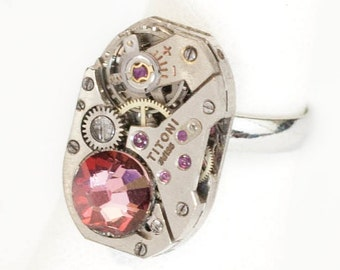 Steampunk Silver Ajustable Ring with Vintage Watch Movement and Sparkling Rose Swarovski Crystal by Velvet Mechanism