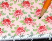 Dollhouse Miniature UPHOLSTERY APPAREL FABRIC Red Tea Rose on Pink 1/12th 1/24th Playscale
