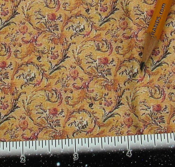 Dollhouse miniature victorian upholstery fabric acanthus for Victorian floral fabric