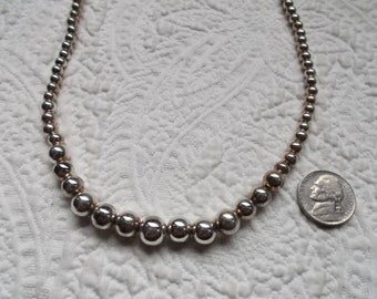 Vintage Sterling Silver Graduated Ball Necklace 18""