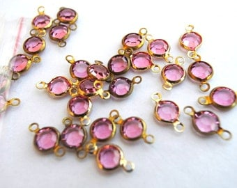 6 Vintage beads, 2 loops connector and dangling, brass channel beads Swarovski PINK crystal drop beads