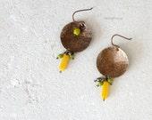 Gold bronze dome earrings, asymmetrical brass cups earrings, lemon yellow lime green