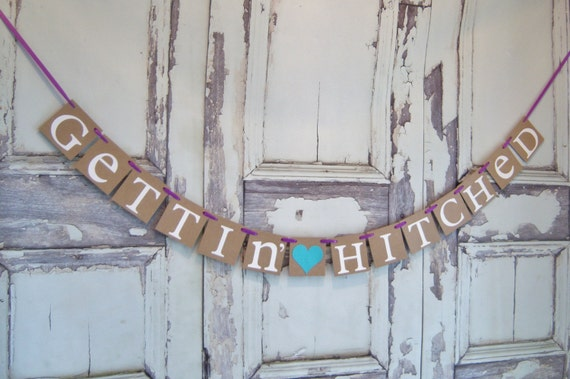 items similar to gettin hitched banner wedding sign