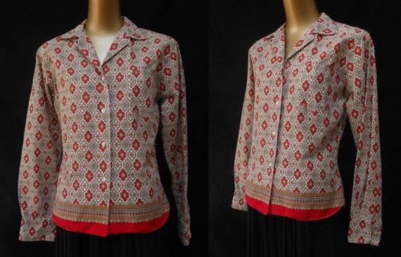 vintage ann es 70 chemise indes orientales paisley bloc. Black Bedroom Furniture Sets. Home Design Ideas