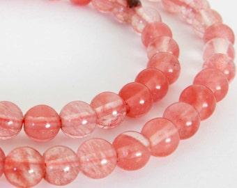 """6mm Cherry """"Quartz"""" Glass Beads, 6mm Round Beads, Pink Glass Beads, 15 Inch Full Strand Beads, Qua200"""