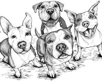 Four Pittie Friends Dog 12X18 Signed Giclee Fine Art Print