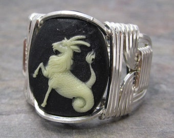 Capricorn Zodiac Sign Acrylic Cabochon Sterling Silver Wire Wrapped Ring ANY size