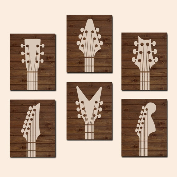 Wood Guitar Wall Decor : Guitar wall art canvas or prints wood effect music rock n