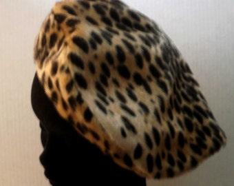Vintage Faux Leopard Skin Beret Printed Acrylic Fake Fur, Large