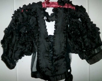 Vintage 80's Designer Black Silk Ruffled Blouse, Top, Small