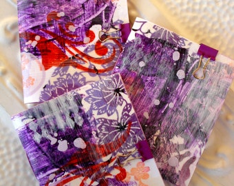 Recycled Found and Vintage Papers Journal - Painted and Stamped Cover - Set of 3 in violets and red