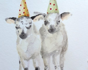 Spotted Lambs painting  original nursery watercolor animal art sheep Twins