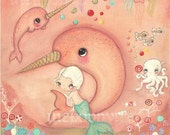 Narwhal Print Pink Mermaid Candy Sea Jellybean Jellyfish Cute Nursery Childrens Wall Decor 12 x 12 Large Print