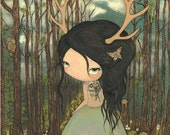 Deer Print Girl Antlers Whimsical Forest Wall Art---The Unknown Road Print LARGE PRINT 11 x 14