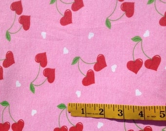 Valentine Cherry Heart Pink Knit Fabric