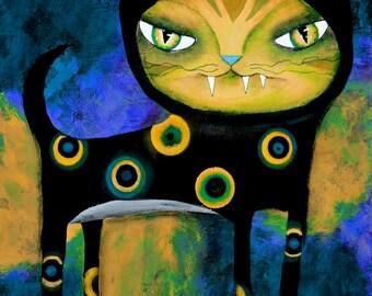 Fine Art Print -Babycat Art Original art by ANGIECLEMENTINE 5 x 7