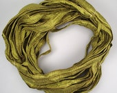 Sari silk Ribbon Recycled Silk Sari Ribbon seamed ribbon Olive green